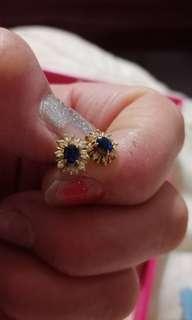 🚚 藍寶石鑽石耳環