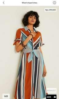 Mixed striped dress mango woman original