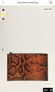 Snake-effect cosmetic bag mango woman original
