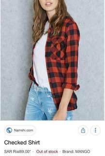 Mango woman red & black checkered shirt