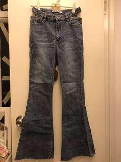 Topdressing 牛仔褲 喇叭褲 高腰