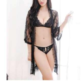 CELLY Eyelash Black Lace Sleepwear Lingerie Set (CSOH R80547-1)