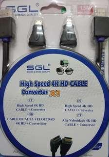SGL 1.5M High Speed 4K HD Cable Converter