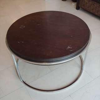 Wooden-top Coffee Table with Chrome Legs