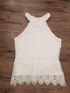 🚚 White Lace Halter Top