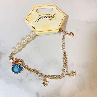 日本迪士尼 小熊維尼珍珠吊飾手鏈