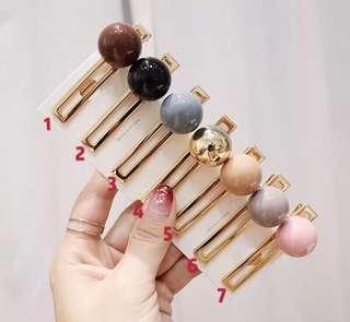 🚚 預購 韓國最夯髮飾 糖果色壓克力圓球髮夾 劉海夾 金屬感