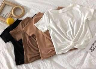 Ready stock ulzzang brown crop top