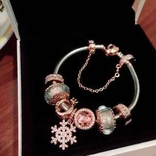 Pandora手鏈 可散買可全條 玫瑰金 雪花 琉璃珠 Rose Snowflake Rose Blush pink