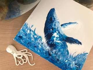 Whale on canvass