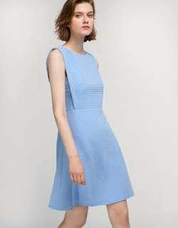 Saturday Club Lace Back Textured Jersey A-Line Dress in Sky Blue
