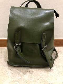 🚚 Olive green leather little backpack
