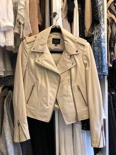 Lamarque Cream Leather Jacket (XS)