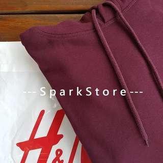 H&M Jaket Jumper dengan Hoodie Merah Maroon