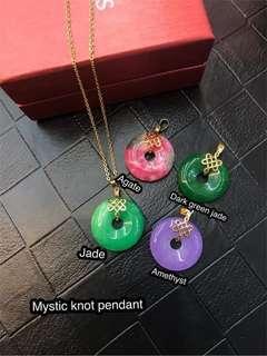 Mystic knot stone lucky charm pendant