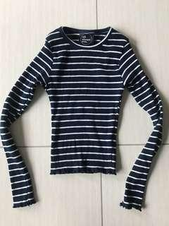 Navy and white long sleeve stripe crop, size 8