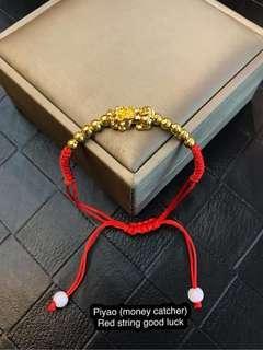 Piyao(money catcher) Red string  lucky charm bracelet