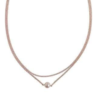 Rose gold double layered pearl necklace