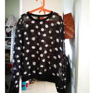 Factorie Daisies Print Sheer Sweater Top