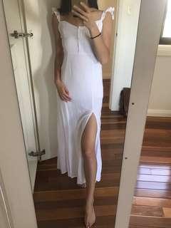 Sundays the label double slit white frill maxi dress size 6
