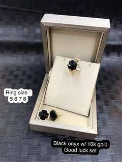 Black onyx w/ 10k gold good luck set