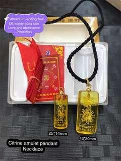 Citrine amulet pendant necklace