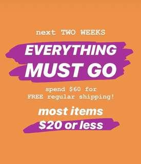 ⚡️ EVERYTHING MUST GO ⭐️ OVER $60 FREE SHIP ⚡️ MOST ITEMS $20 OR LESS 🌟
