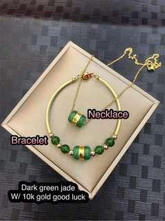 Dark green jade w/ 10k gold good luck  set 🔥