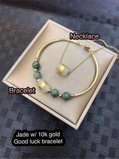 Jade w/ 10k gold good luck set