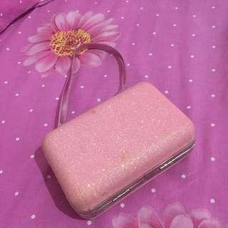 Tas pesta/pouch makeup pink glitter