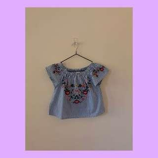 Zara off the shoulder embroided top