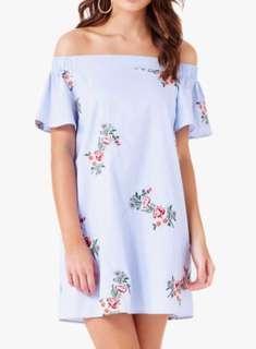 Forever New Floral Embroidered Off Shoulder Dress