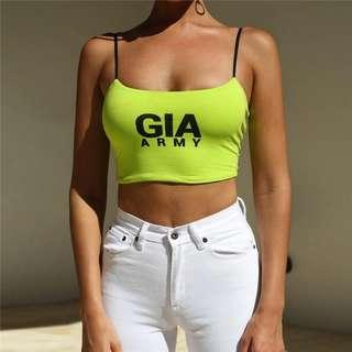 🚚 [INSTOCK] i.am.gia neon green spaghetti tank Top
