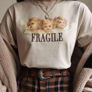 [instock] vintage angel fragile graphic tee