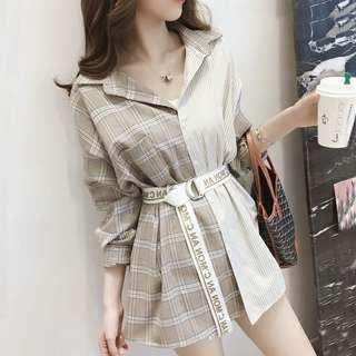 [instock] beige Plaid checkered shirt or Dress