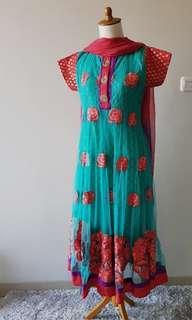 Dijual Dress India motif bunga free selendang