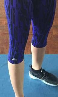 Adidas womens D2M running tights blue 3/4