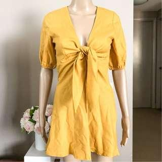 NEW WITH TAGS INTO Mustard yellow cotton/linen blend tie up dress 6