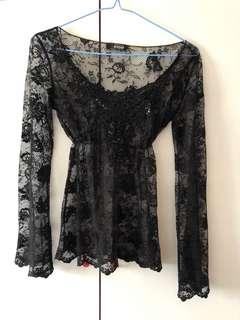 Used Morgan Black Lace Top sexy party see through 黑色喱士上身衫