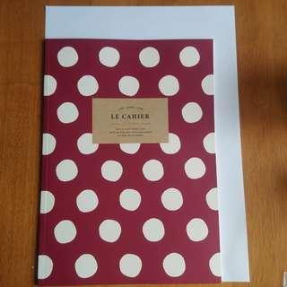 Artbox 棗紅色 波點 記事簿 notebook 筆記簿