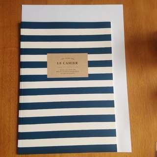 Artbox 深藍色 橫間 條紋 記事簿 notebook 筆記簿