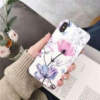 日系鮮花花朵花紋圖案少女全包手機軟殼 Apple iPhone case