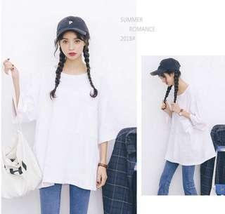 Oversized Korean Chic White Top with Pocket