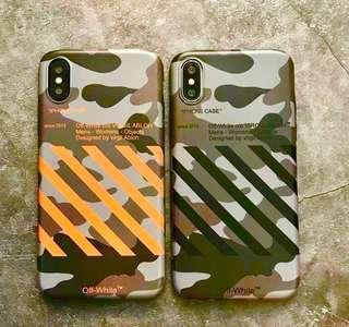 Off white 迷彩軍綠斜紋全包手機軟殼 Apple iPhone case
