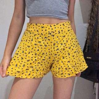 (Size S) Yellow High Waisted Shorts #swapAU
