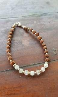 Moonstone Rudraksha Tiger Eye Bracelet 3mm