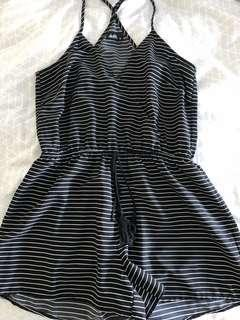 Dotti Black and White Striped Playsuit