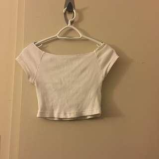Brandy Melville semi off the shoulder white crop top