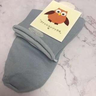 心心藍色中筒襪
