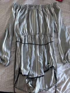Black and White Stripe Playsuit